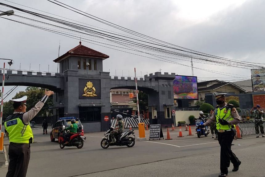 The view in front of the Mobile Brigade Command detention centre in Depok, West Java.