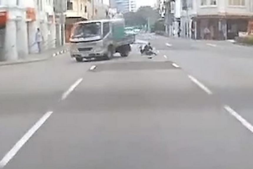In a Facebook video, the left side of the lorry can be seen hitting the 64-year-old man as he crosses the road.