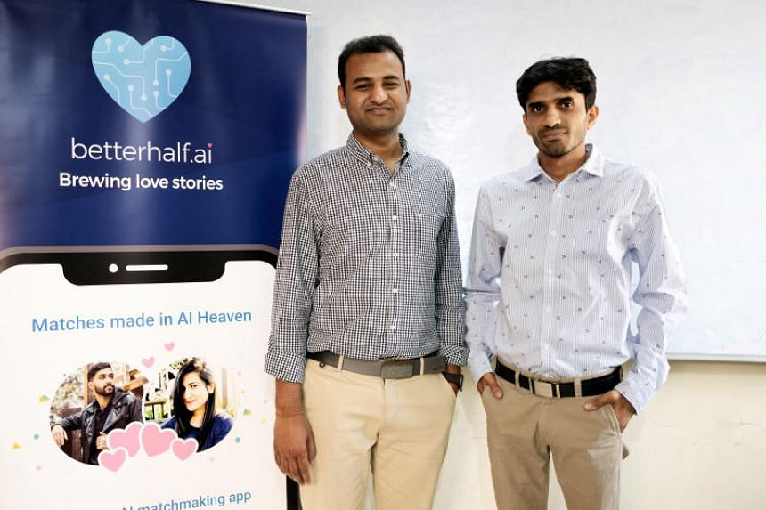 Betterhalf co-founders Pawan Gupta (left) and Rahul Namdev at the company's office in Bangaluru, India, on Jan 21, 2019.