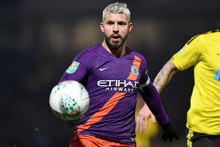 Aguero (above) slotted home from a Riyad Mahrez cutback in the 26th minute.