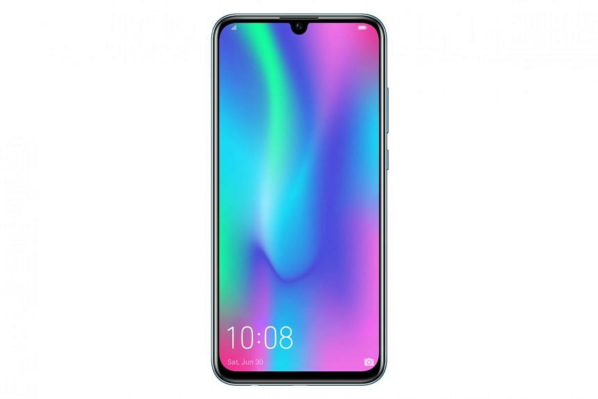The more affordable Honor 10 Lite ($288) has a teardrop screen notch and mid-range hardware. PHOTO: HONOR