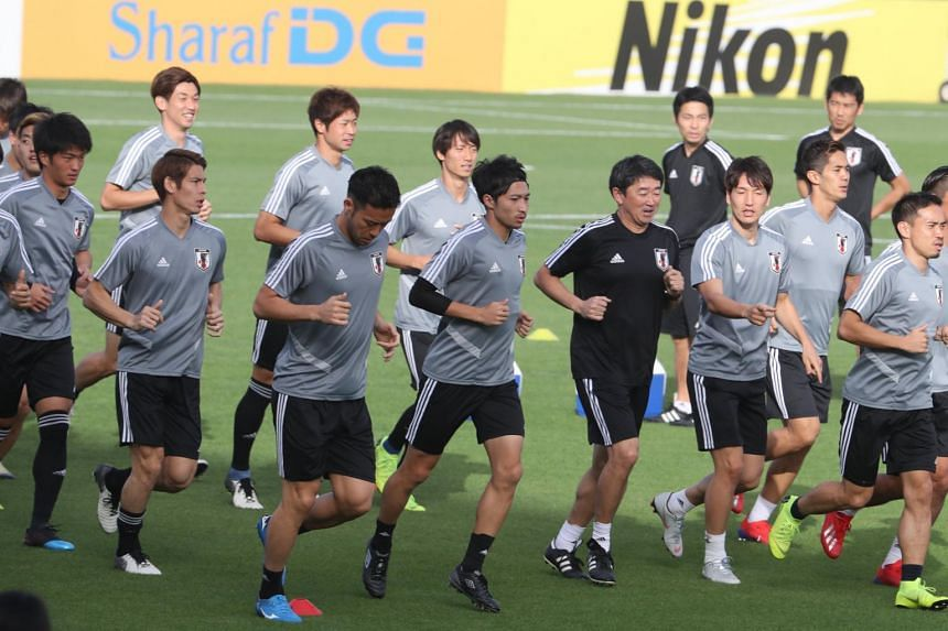 The Japan national football team take part in a training session on the eve of the AFC Asian Cup quarterfinal match Japan vs Vietnam during the 2019 AFC Asian Cup in Abu Dhabi, on Jan 23, 2019.