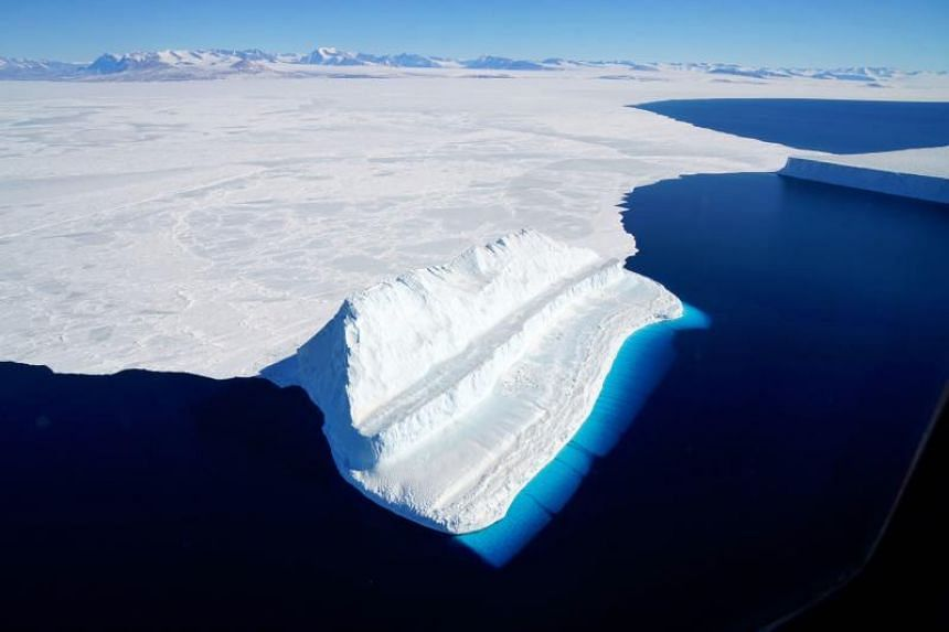 An iceberg floating in Antarctica's McMurdo Sound on Nov 29, 2017. Global warming is melting ice in Antarctica faster than ever before.