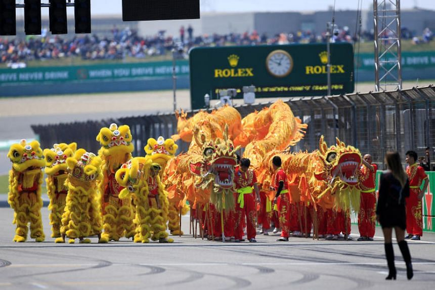 Performers before the Chinese Grand Prix race in Shanghai, China, on April 15, 2018.
