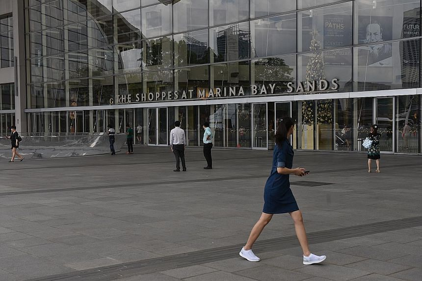 The retail tenant sales per square foot at The Shoppes at Marina Bay Sands jumped 19.4 per cent from the preceding year.