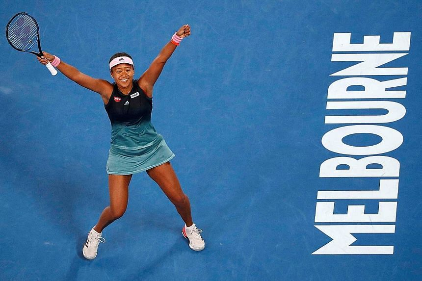 Japan's Naomi Osaka celebrating after defeating Karolina Pliskova 6-2, 4-6, 6-4 in their semi-final clash yesterday. The 21-year-old had 56 winners to the Czech's 20.