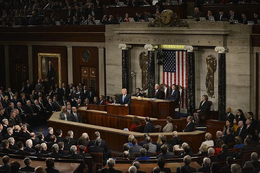 President Donald Trump delivering his State of the Union address last year. His tit-for-tat with House Speaker Nancy Pelosi over this year's address escalated sharply on Wednesday, with Mr Trump telling Ms Pelosi he would deliver the speech in the Ca