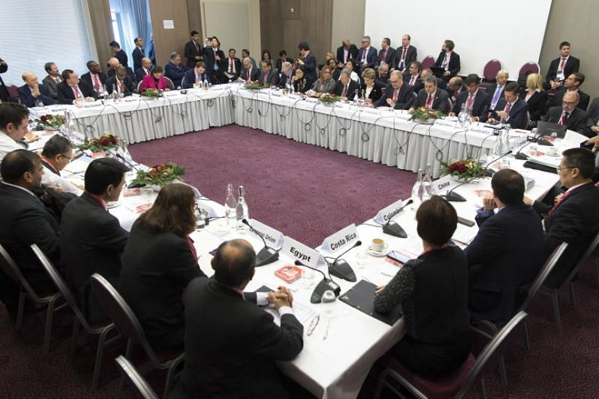 Trade ministers participate at the World Trade Organisation Informal ministerial gathering in Davos, Switzerland, on Jan 25, 2019.
