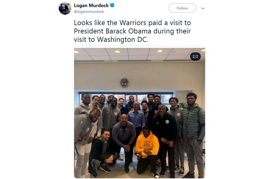A reporter for the San Jose Mercury News, Logan Murdock, captured a photo of the Golden State Warriors with former US president Barack Obama posted onto Instagram by a security guard before it was deleted. He then tweeted it.