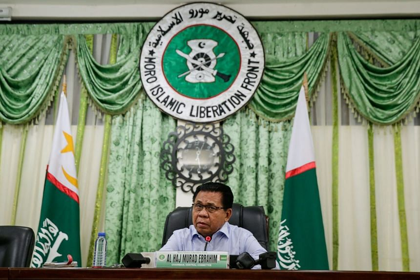 Moro Islamic Liberation Front (MILF) chairman Al Haj Murad Ebrahim speaking during a press conference at the MILF Camp in Sultan Kudarat, southern Philippines, on Jan 21, 2019.