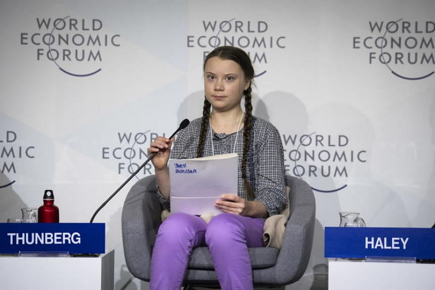 Swedish climate activist Greta Thunberg, 16, at a panel session at the 49th annual meeting of the World Economic Forum in Davos, Switzerland, on Jan 25, 2019.