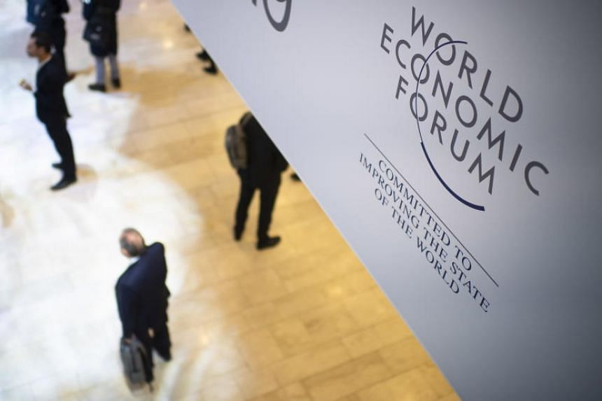 The logo of the World Economic Forum is seen in the Congress Hall in Davos, Switzerland, on Jan 23, 2019.
