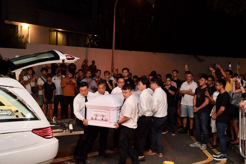 The body of Aloysius Pang arriving at his wake in MacPherson Lane, on Jan 25, 2019.