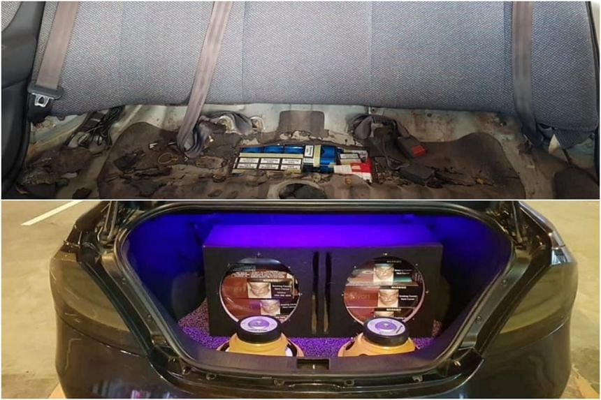 Officers found 460 packets of cigarettes hidden in one car's modified fuel tank (top), and 30 cartons of cigarettes concealed in the speaker compartment in the boot of a second car.