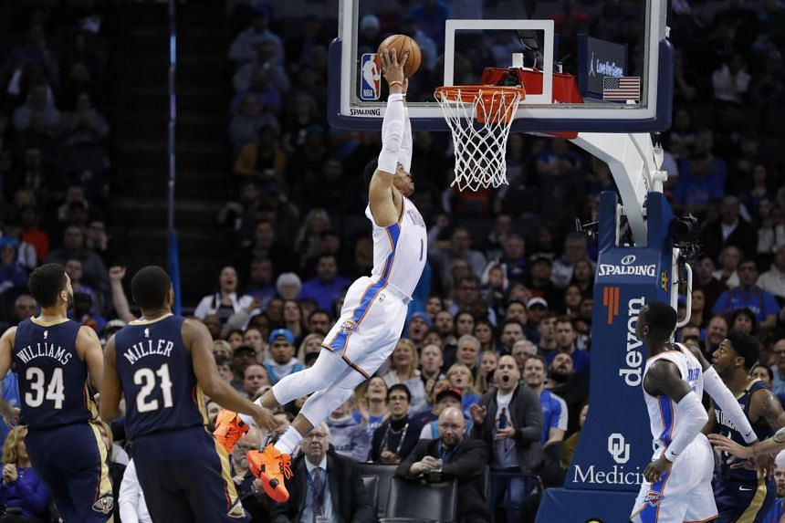 Oklahoma City Thunder guard Russell Westbrook dunks the ball against the New Orleans Pelicans during the first half at Chesapeake Energy Arena on Jan 24, 2019.