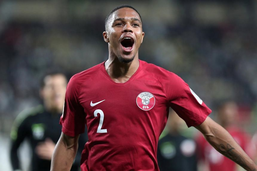 Qatar's Ro-Ro celebrates after the match during the AFC Asian Cup match against Iraq, on, Jan 22, 2019.