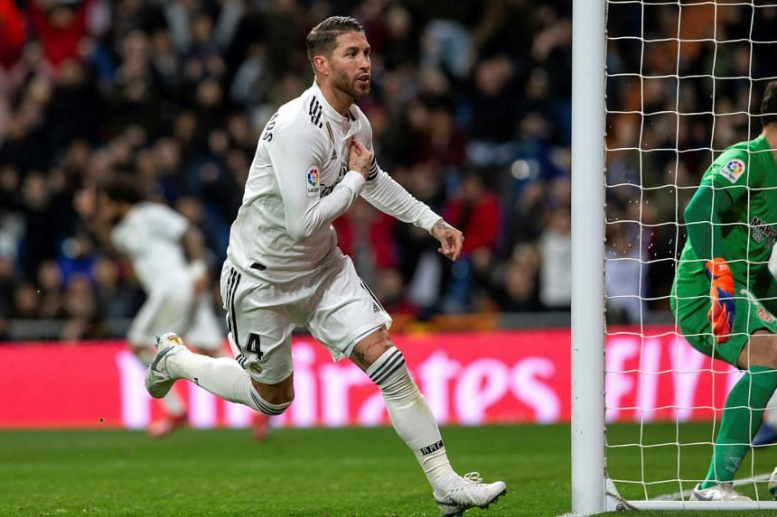 Real Madrid's defender Sergio Ramos celebrates after scoring his second goal during the Copa del Rey quarter-final between Real Madrid and Girona on Jan 24, 2019.