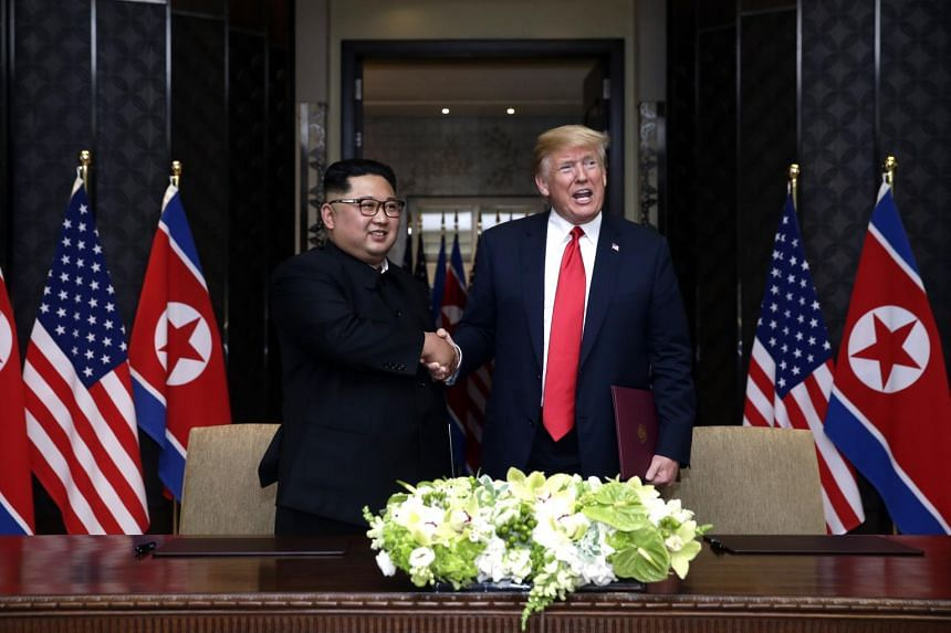 North Korean leader Kim Jong Un (left) was handed the letter by a North Korean envoy who met US President Donald Trump at the White House last week.