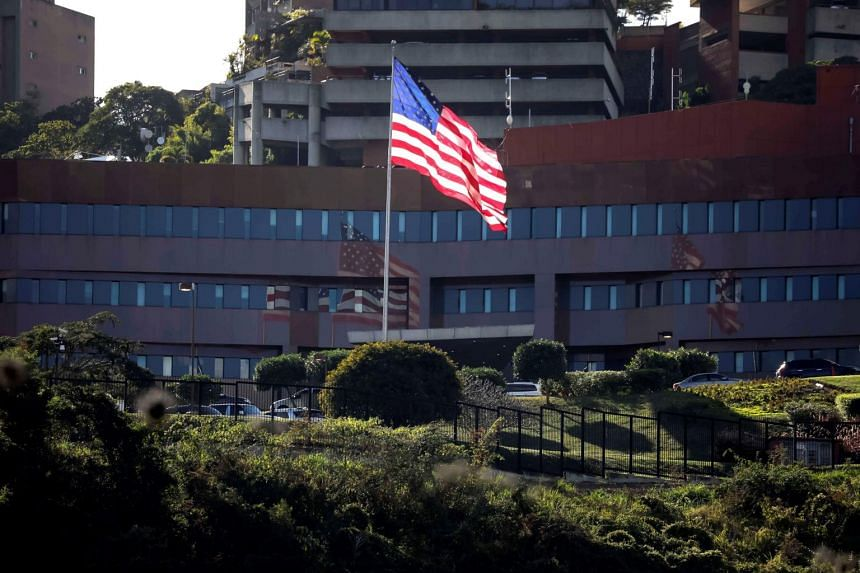 A view of the US Embassy, in Caracas, Venezuela, on Jan 24, 2019.