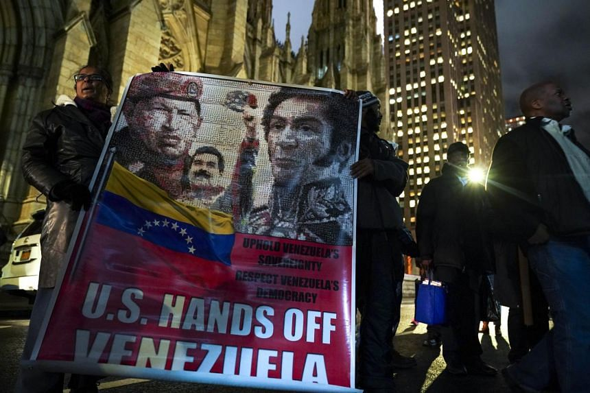 Protestors rally in support of Venezuelan President Nicolas Maduro  outside the Venezuelan Consulate in Midtown Manhattan, New York City on Jan 24, 2019.