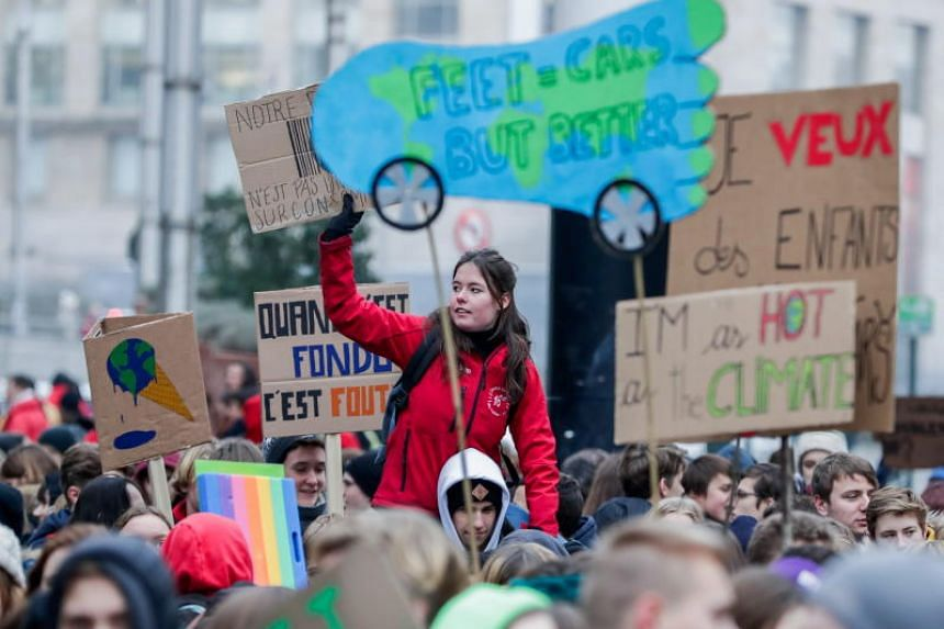 Belgian students gather to call for urgent measures to combat climate change during a demonstration in Brussels, Belgium, 24 January 2019. According the police more than 35,000 students are taking part in the demonstration.