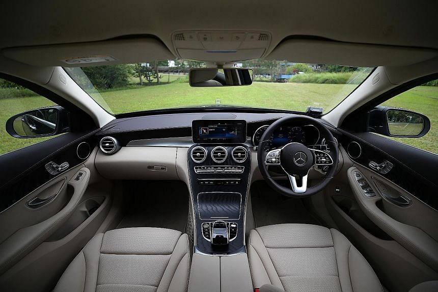 The Mercedes C180 is equipped with a 1.6-litre turbo producing 156hp and 250Nm of torque and a nine-speed transmission. The facelifted C180 comes with a 12.3-inch digital instrument display, a 10.25-inch infotainment screen with Apple CarPlay and And