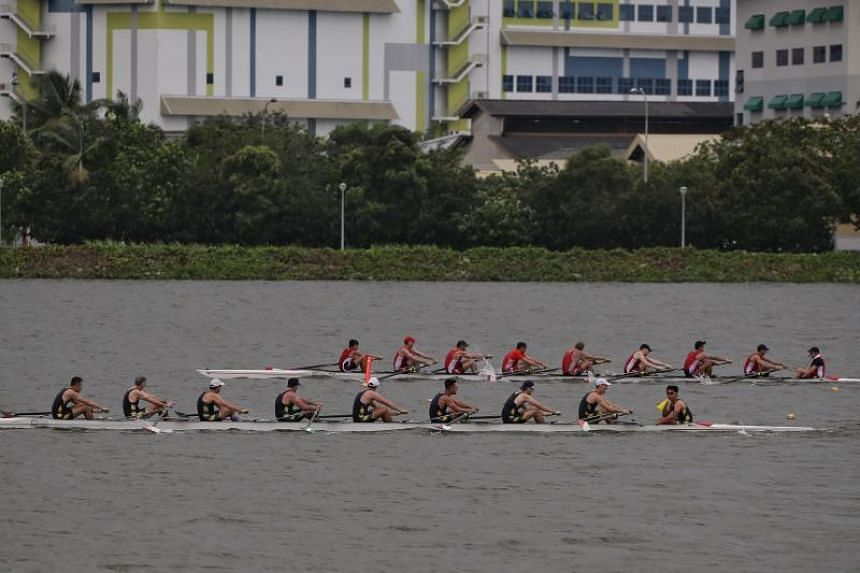 Royal Hong Kong Yacht Club (in black) pipping Singapore's Easter Rowing Club to first place during the Open Men's Eight of the 3-Way Regatta at Pandan Reservoir, on Jan 26, 2019.