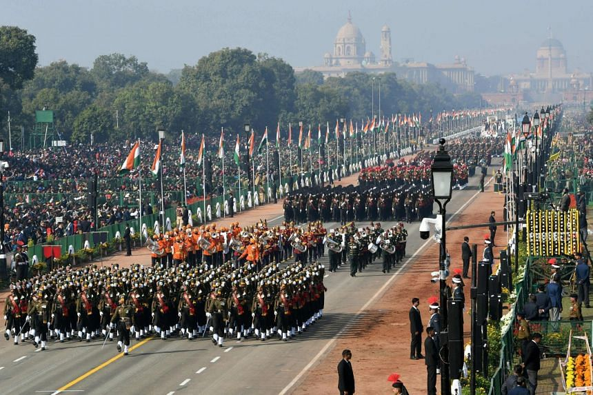 An Indian army contingent marching during the Republic Day parade in New Delhi, on Jan 26 2019.