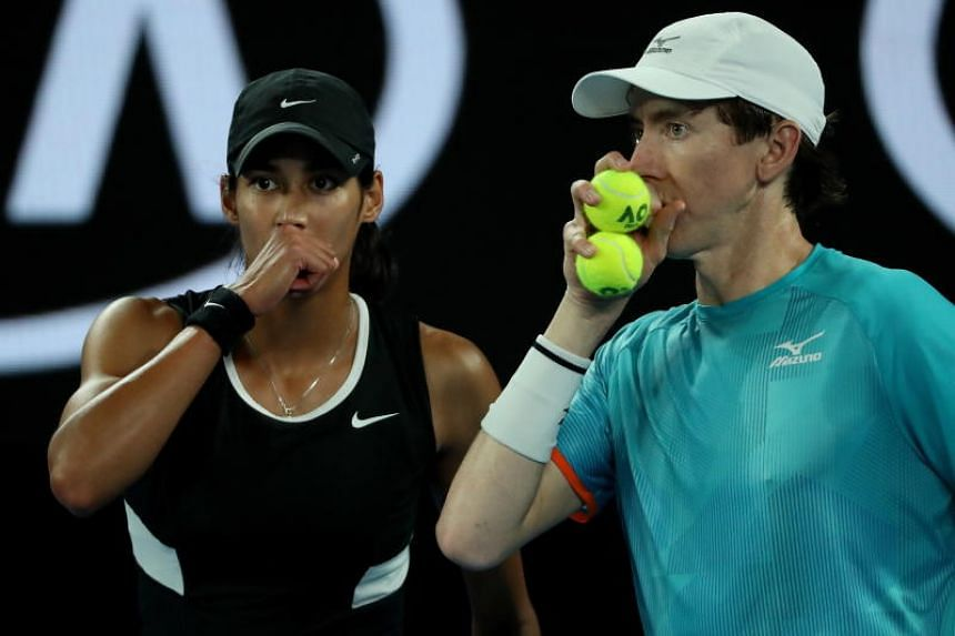 Astra Sharma and John-Patrick Smith in action during the mixed doubles final at the Australian Open Grand Slam tennis tournament in Melbourne, Australia, on Jan 26, 2019.