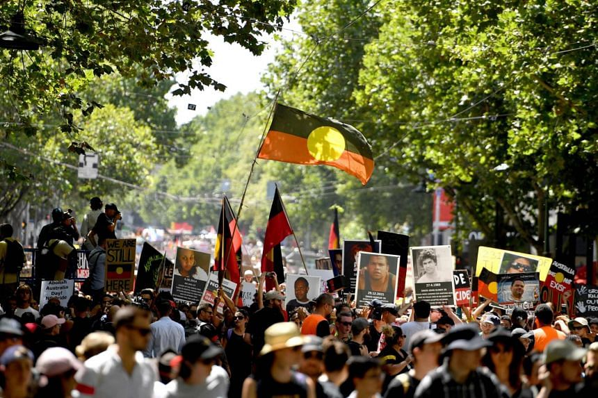"People taking part in an ""Invasion Day"" rally on Australia Day in Melbourne, on Jan 26, 2019."