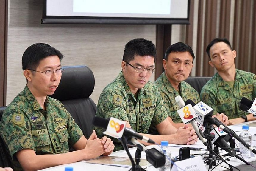 From left: Chief of Army Goh Si Hou, Chief of Defence Force Melvyn Ong, Commander CSSCOM (Combat Service Support Command) Terry Tan and Chief Army Medical Officer Edward Lo Hong Yee at a media conference yesterday on the death of Corporal First Class