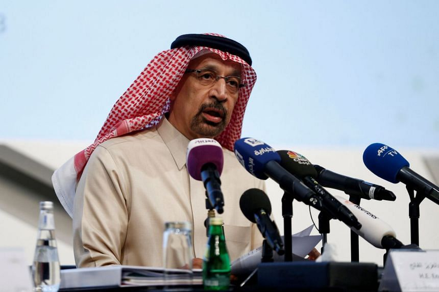 Saudi Energy Minister Khalid al-Falih speaking during a news conference in Riyadh.