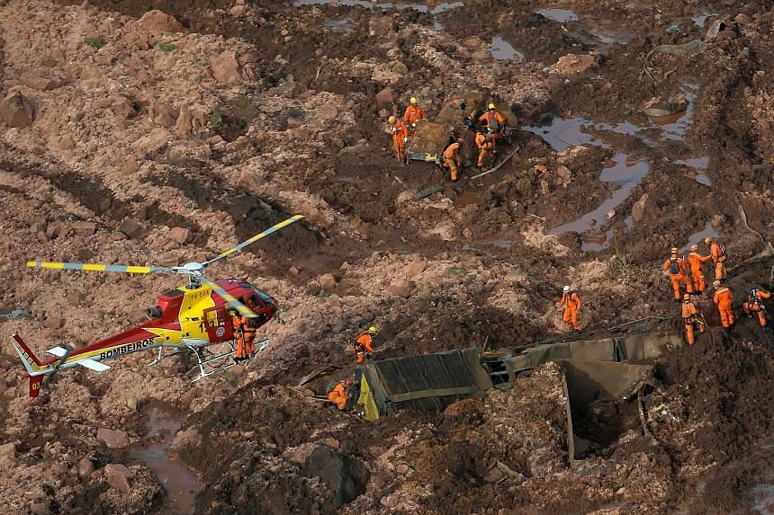 Rescue crew searching for missing people after a tailings dam burst at an iron ore mine owned by Brazilian miner Vale, in Brumadinho, Brazil, last Friday. The cause of the rupture is still not known. The recent collapse comes three years after a simi