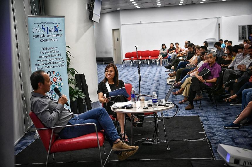 Straits Times travel writer Lee Siew Hua and guest speaker Chang Theng Hwee, chief executive of luxury travel operator Scott Dunn Asia, at the Central Public Library last Friday.