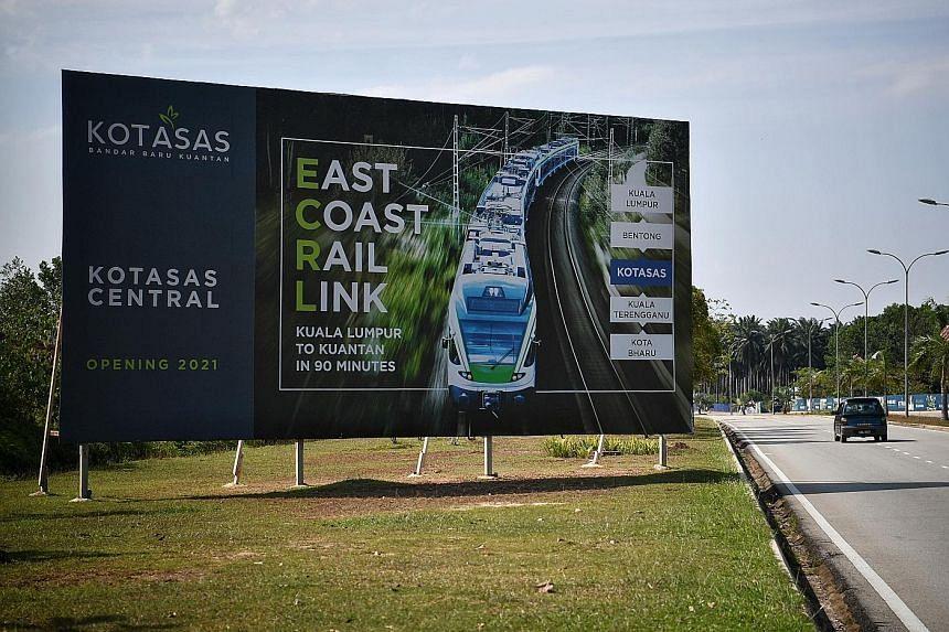 A billboard featuring Malaysia's East Coast Rail Link project in Kota Sultan Ahmad Shah, Kuantan.
