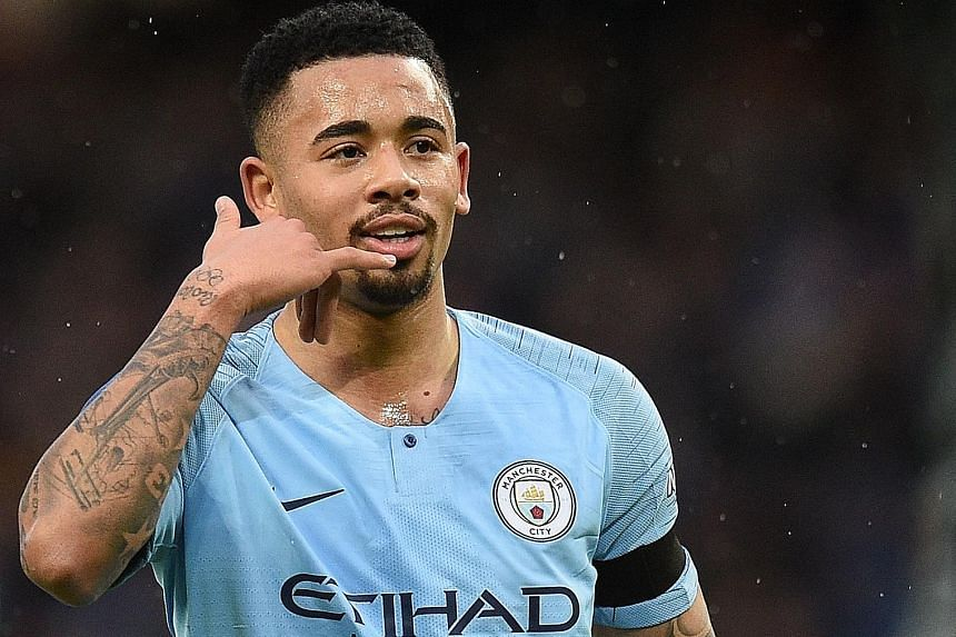 Striker Gabriel Jesus celebrating his 23rd-minute opener for Manchester City against Burnley in the FA Cup fourth round yesterday. The floodgates opened in the second half for the hosts, who completed the 5-0 win through Bernardo Silva, Kevin de Bruy