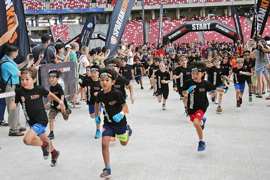While there were no war cries and swords brandished, the passion and determination of these children were not diminished as they made a dash for it at yesterday's Spartan Kids Race at the National Stadium. The bubbly youngsters, aged four to 13, nego