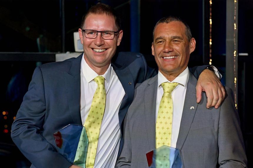 Australians of the Year Dr Richard Harris (left) and Craig Challen pose for photos at the 2019 Australian of the Year Awards at The National Arboretum in Canberra, Australia, on Jan 25, 2019.