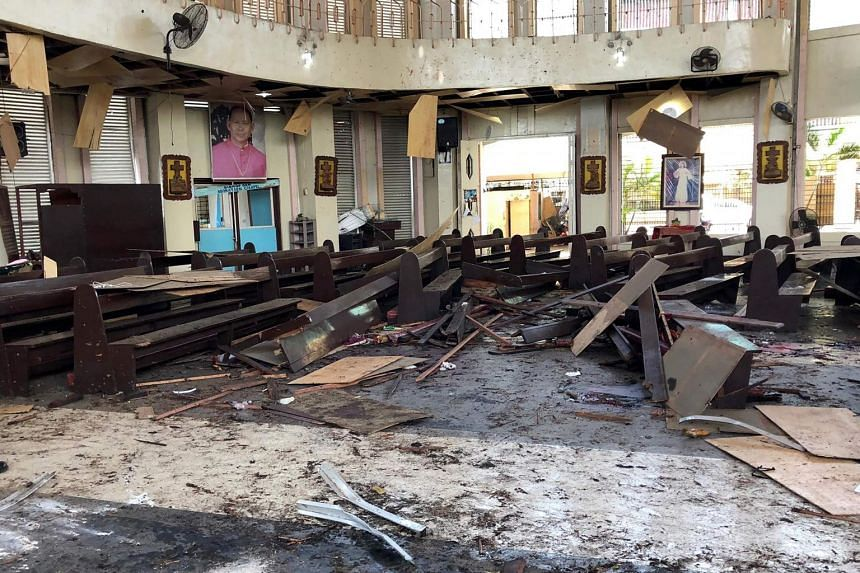 Debris inside a Catholic church where two bombs exploded in Jolo, Sulu province, on the southern island of Mindanao on Jan 27, 2019.