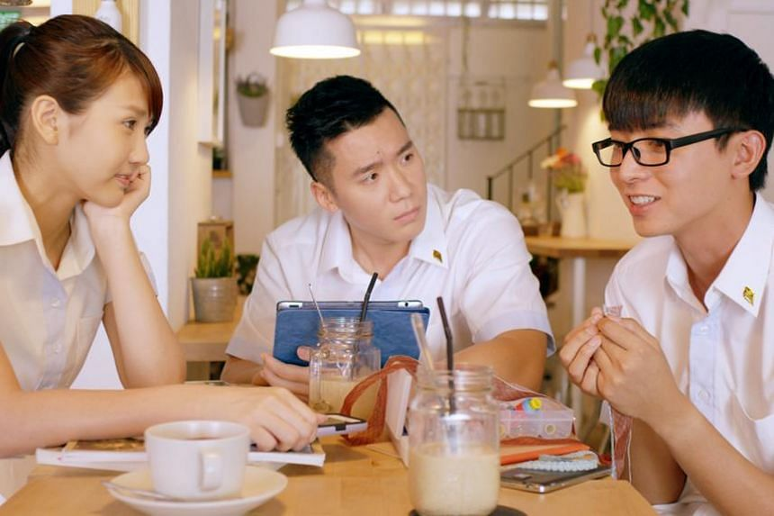 A still of Young and Fabulous, featuring (from left) Joyce Chu, Joshua Tan and Aloysius Pang.