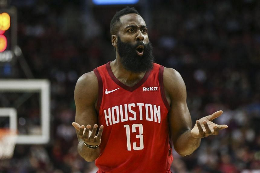 Houston Rockets guard James Harden reacts after a play during the first quarter against the Toronto Raptors at Toyota Center on Jan 25, 2019.