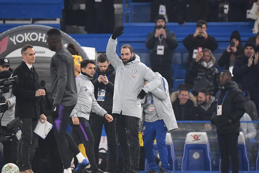 Chelsea Gonzalo Higuain reacts ahead of the Carabao League Cup semi final match between Chelsea and Tottenham Hotspur at Stamford Bridge stadium in London on Jan 24, 2019.