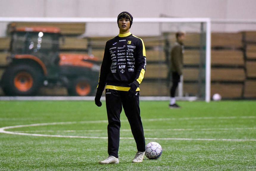 Ikhsan Fandib (above) was brought on with fellow forward Thierry Dabove in the 59th minute of a pre-season friendly against Elverum Fotball.
