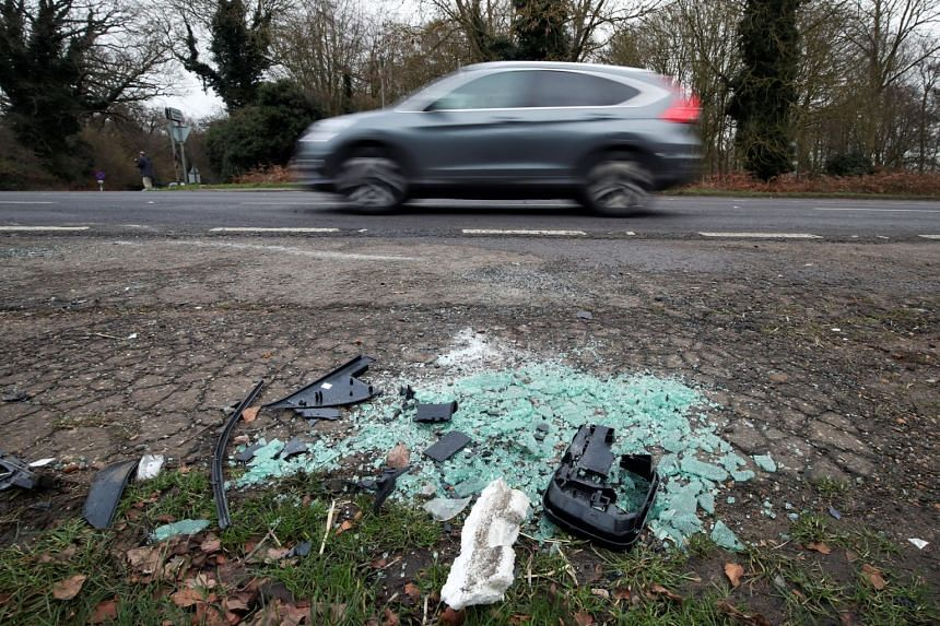 Debris seen at the scene where Prince Philip was involved in a traffic accident, near the Sandringham estate in eastern England, Britain, on Jan 18, 2019.