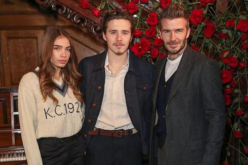 (From right) Former football star David Beckham, his son Brooklyn and model Hana Cross, in a picture that was posted on Instagram.