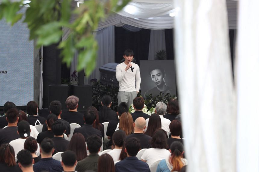 Mr Jefferson Pang giving an eulogy at the funeral of his brother Aloysius, on Jan 27.