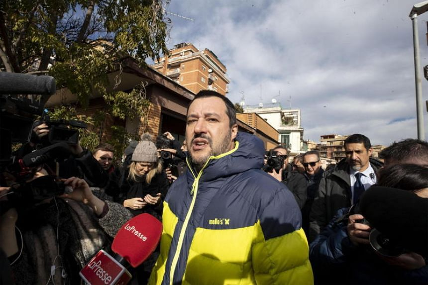 Italian DPM Matteo Salvini speaking to the media after visiting a house confiscated from the Italian mafia, in Rome on Jan 25, 2019.