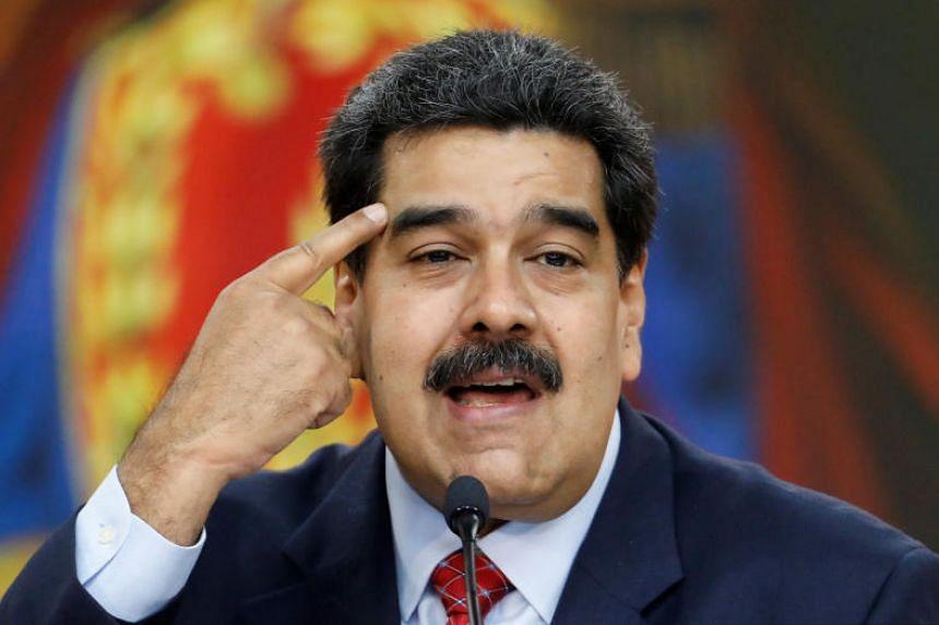 Venezuelan President Nicolas Maduro speaking during a news conference in Caracas on Jan 25, 2019.