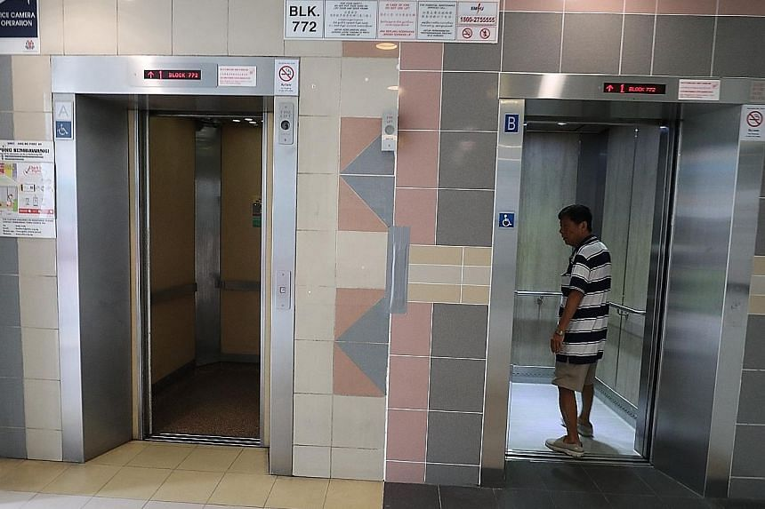The new lift (right) at Block 772 Woodlands Drive 60 is brighter and more reliable than the old one (left). It is one of 50 new ones installed under Sembawang Town Council's $41 million Lift Replacement Programme, which will replace 336 lifts serving
