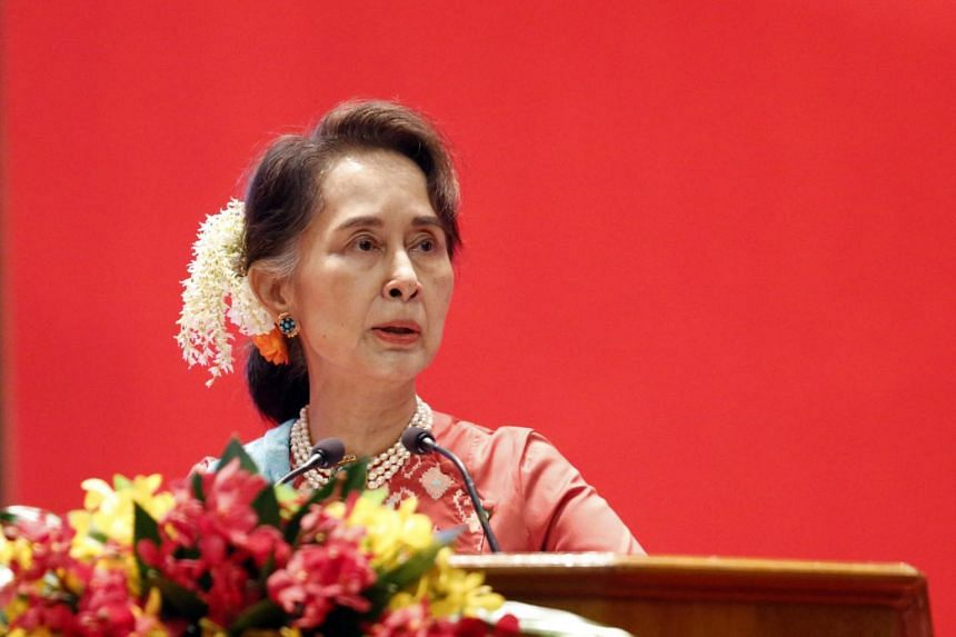 Myanmar leader Aung San Suu Kyi touted Myanmar's economic potential, its attractive geographical location, expanding domestic markets and young population.